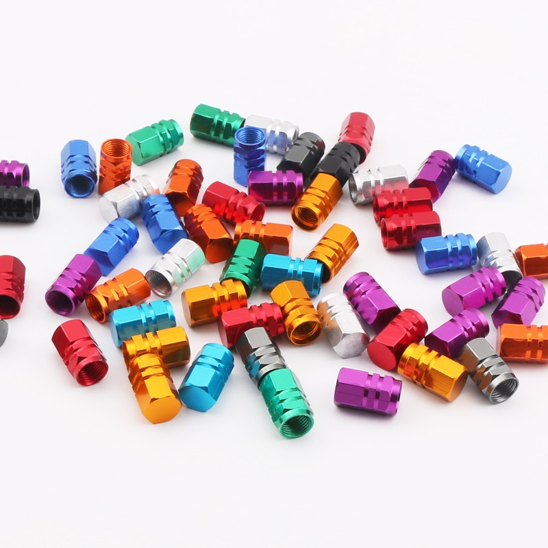 1000pcs universal aluminum hexgon style auto car tyre valve caps motorcycle bicycle wheel tire valve cap