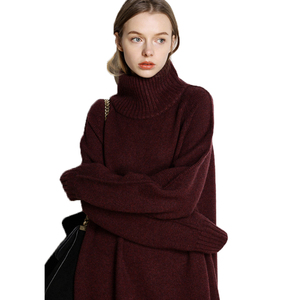 Image 3 - Autumn and winter new high neck cashmere sweater womens long loose sweater knit bottom skirt