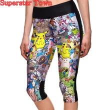 Cosplay Women Stretch Pikachu Pants Skinny Fitness Leggings Trousers Costume Pikachu Shorts Superstar Town