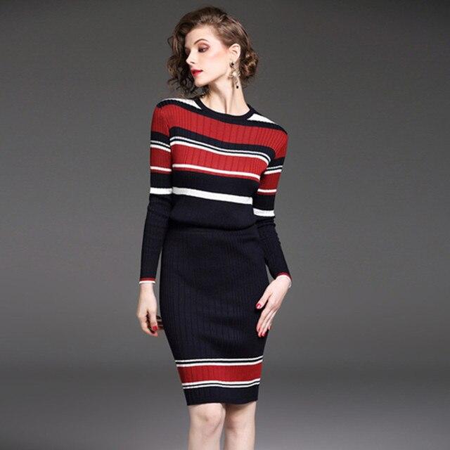 330da1adaf ZAWFL Autumn Winter Vintage Stripe Sweater+Knitting Skirt 2 Piece Set  Fashion Knit Long-Sleeve Women Suits Top And Skirt Set