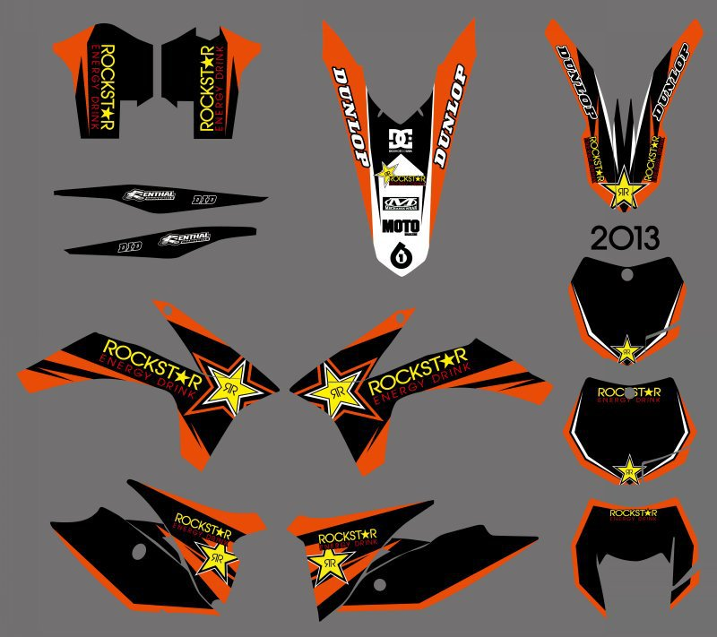 0605 Star  NEW STYLE TEAM  GRAPHICS WITH MATCHING BACKGROUNDS FOR KTM 125/200/250/300/350/450/500 EXC 2012-2013 XC 2011  0322 star new team graphics with matching backgrounds fit for ktm sx sxf 125 150 200 250 350 450 500 2011 2012