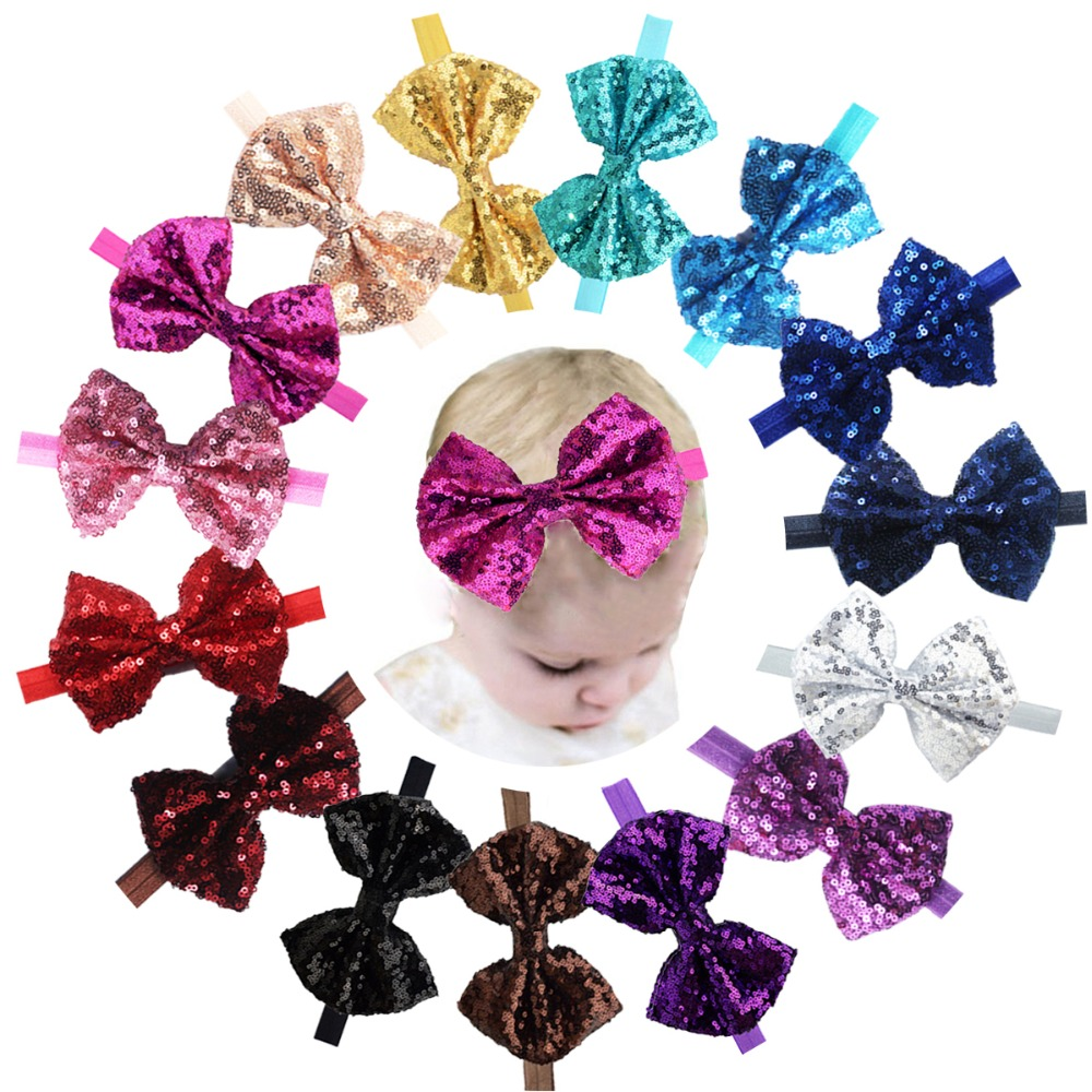 15pcs Boutique Bling Sparkly Sequin Soft Elastic Hair Band Accessories Headwrap Top BowKnot Headbands for B aby Girls Teenger