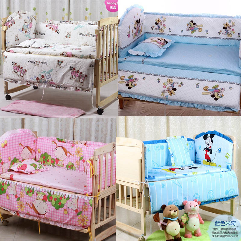 ebcccbbbc8b 5Pcs baby crib bedding set kids bedding set 100x60cm newborn baby bed set  crib bumper baby cot set baby bed bumper Free shipping