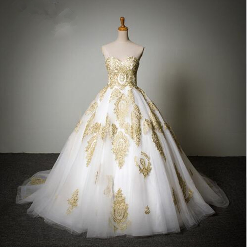 Popular White Wedding Dress Gold Embroidery-Buy Cheap White ...