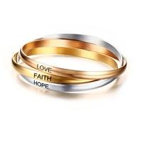 Vnox Three Colors Cuff Bangle Bracelets Stainless Steel Love Faith Hope Bracelets For Women Jewelry