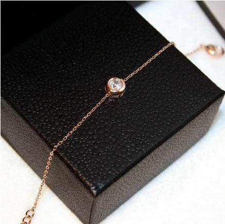YUNRUO AAA Cubic Zircon Crystal Bracelets Women Titanium Steel & Rose Gold Color Exteneded Link Chain Valentines Gift for Girl