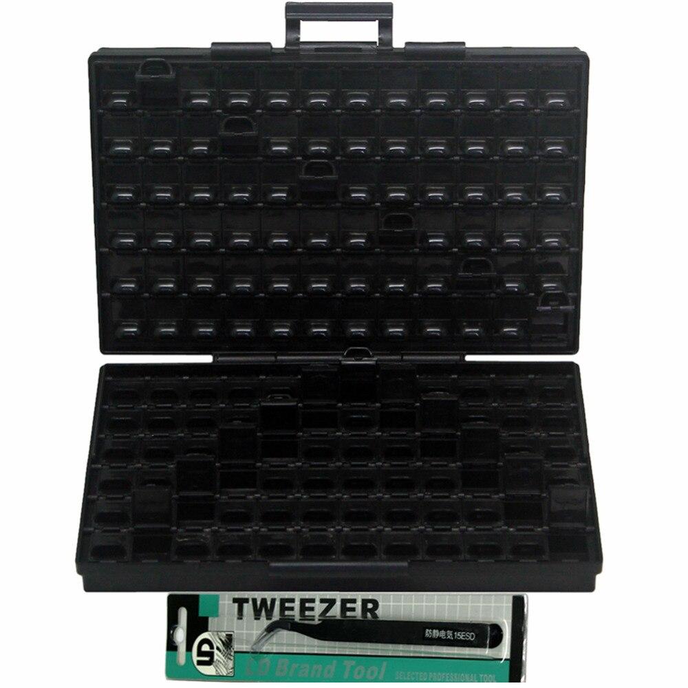 AideTek ESD Safe SMD IC Box W 144 Bins Anti statics SMD SMT Organizer Transistor font