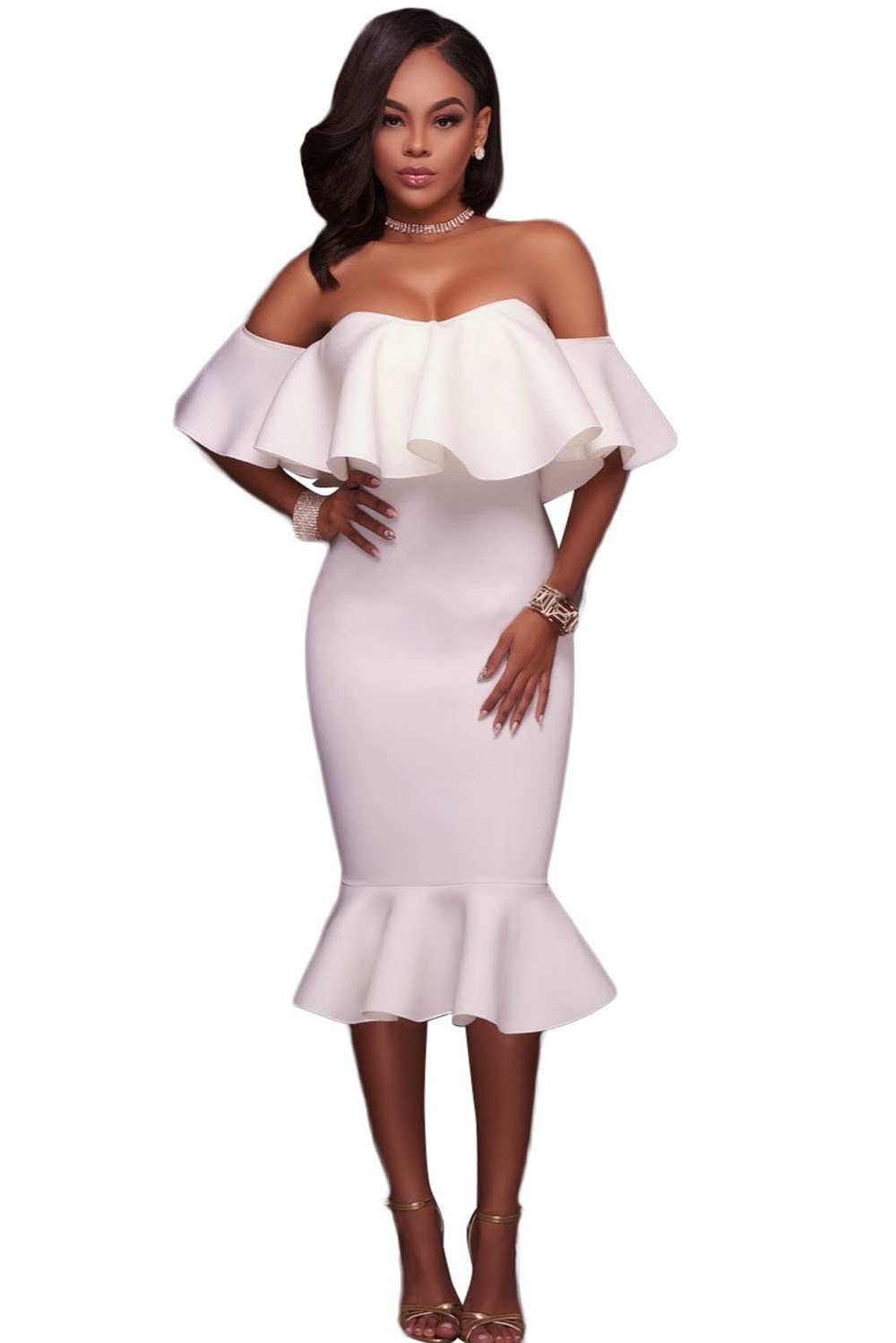 Plus Size Off The Shoulder White Dress | RLDM