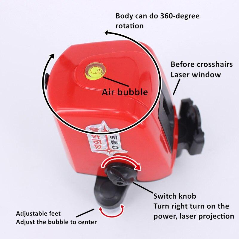 A8826D Rosso Nivel Livello del Laser Linea di 2 1 Dot Mini Portatile 360 Self-leveling Linea Trasversale Lazer Strumenti di Costruzione AK435
