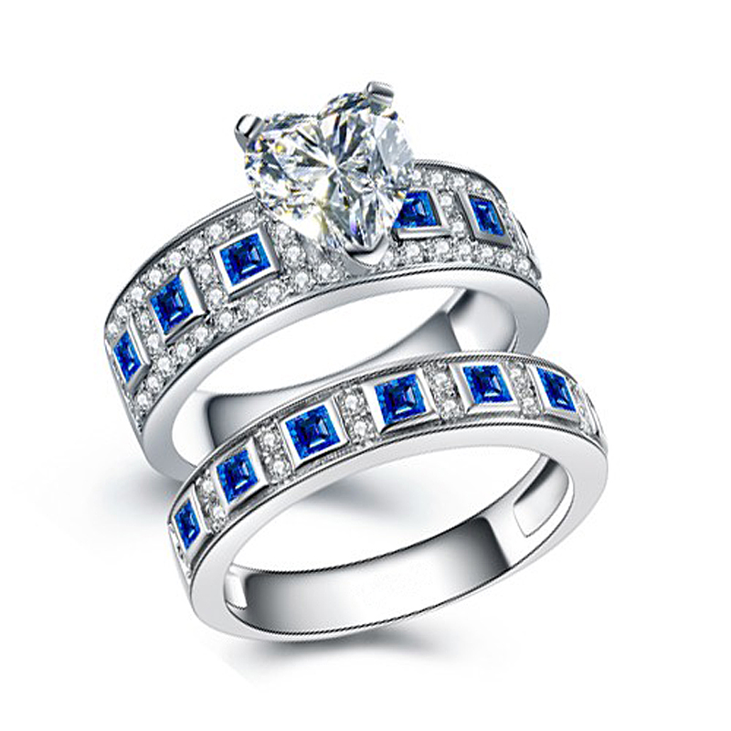 Hutang Vintage 3.51ct Blue Sapphire Couple Wedding Rings 100% 925 Sterling Silver Forever Love Romantic Lovers Finger Rings t5971 700ml refill ink cartridge with chip resetter for epson stylus pro 7700 9700 7710 printer for epson t5971 t5974 t5978