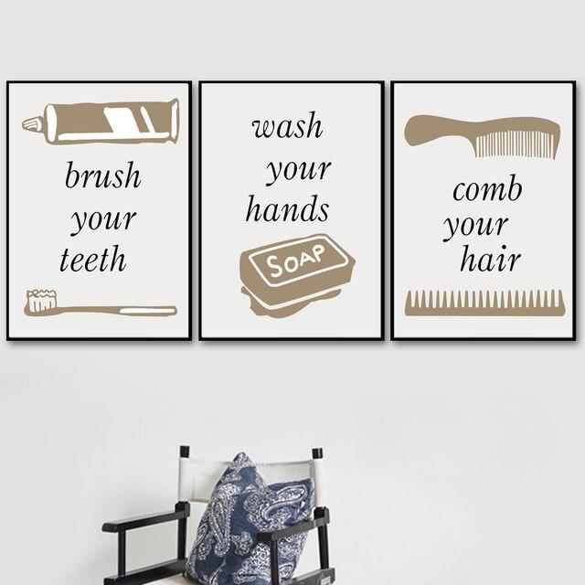 Towel Soap Comb Toothbrush Wall Art  1