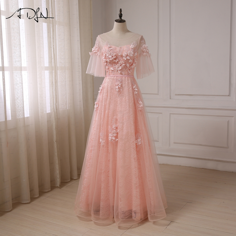 ADLN New Arrival A-line   Prom     dresses   Scoop Neck Elegant Cheap Long applique Party Evening   Dress   Floor Length Vestidos de Fiesta