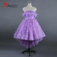 Real Photo 2017 New Arrival Purple Off The Shoulder Ball Gown Hi Low Amazing Evening Prom