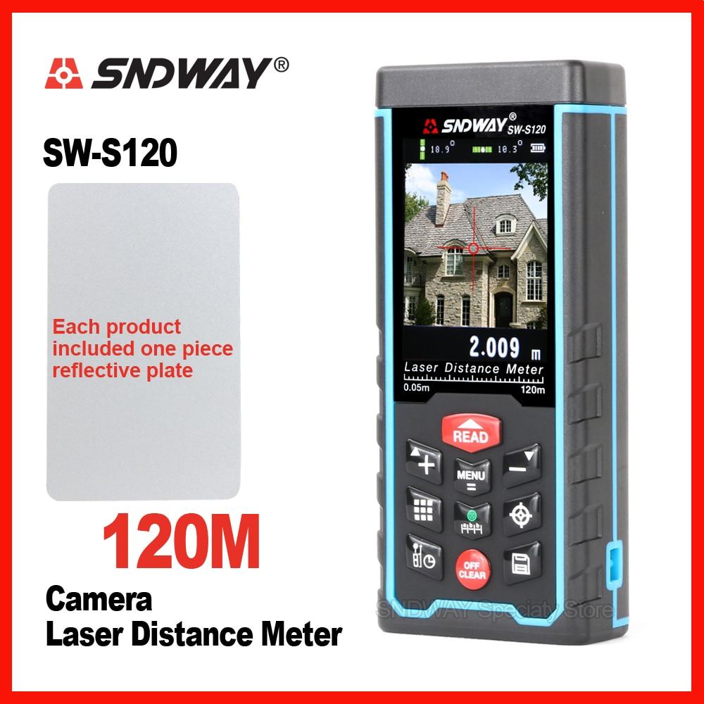Sndway laser medidor de distância digital câmera laser range finder ferramenta de ângulo de fita laser rangefinder