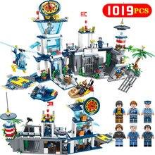 Новый водный правоохранительный центр Морской спасательный центр Совместимость LegoINGLY 1019PCS Блоки кирпичей Классические игрушки для детей