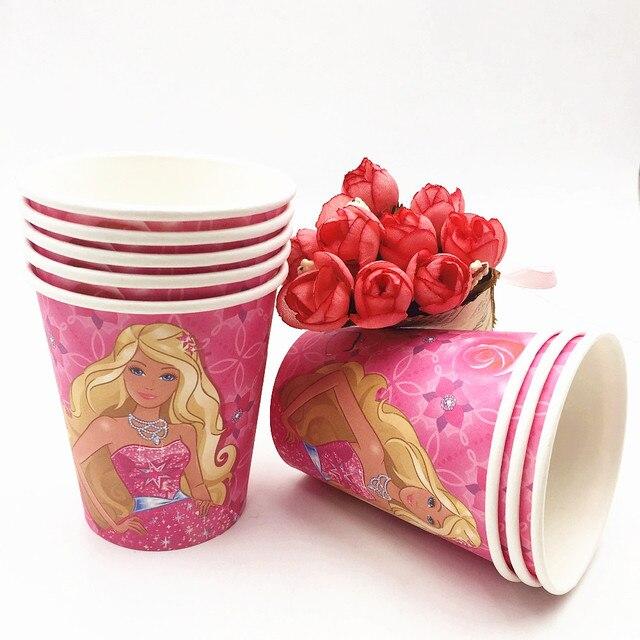 10 Pcs Lot Barbie Fete De Gobelets En Papier De Bande Dessinee D
