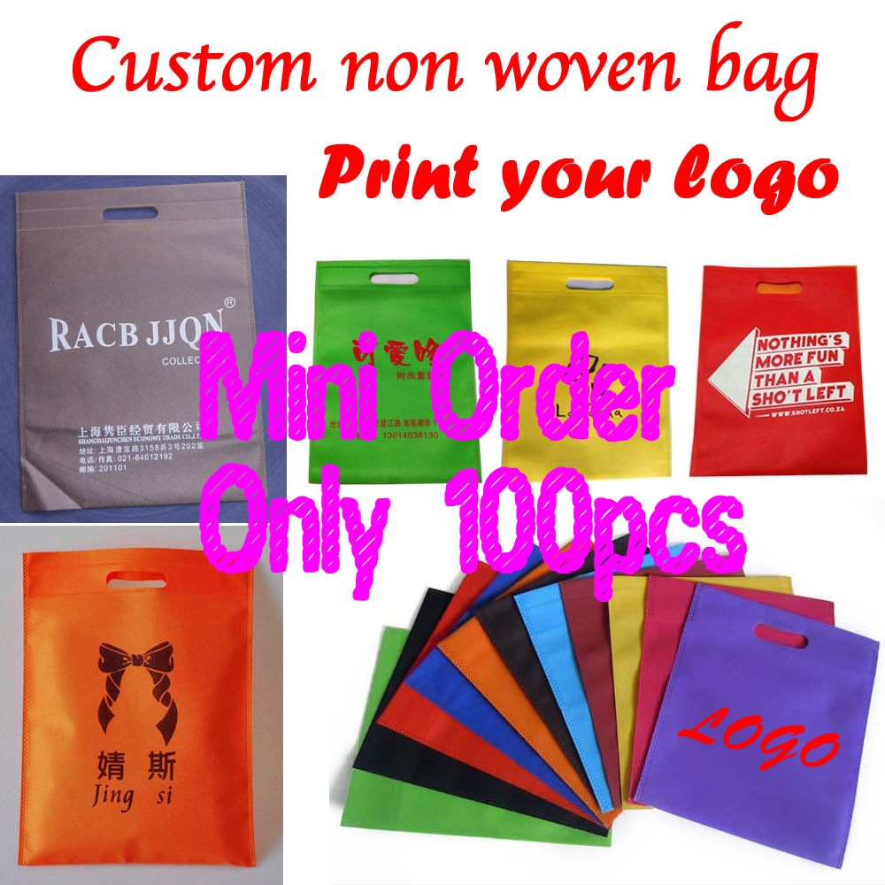 Custom print logo shopping handle gift non woven bag for packaging