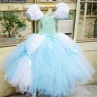 Quality Cinderella Princess Dress Girl Halloween Cosplay Costume Baby Girls Birthday Party Dress Gift Tutu Kids Clothes W013