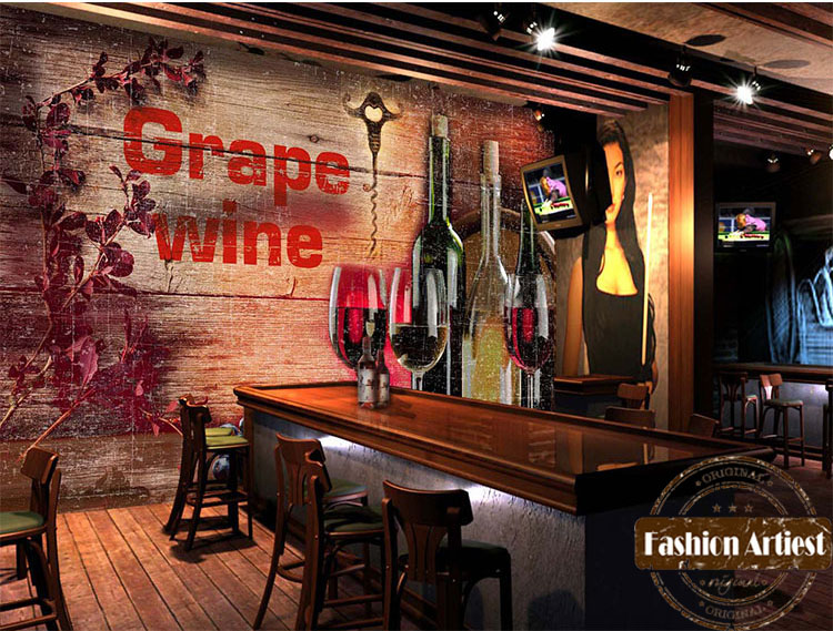 custom 3d wallpaper mural vintage grape red wine glass bottle wooden wall sofa bedroom living. Black Bedroom Furniture Sets. Home Design Ideas