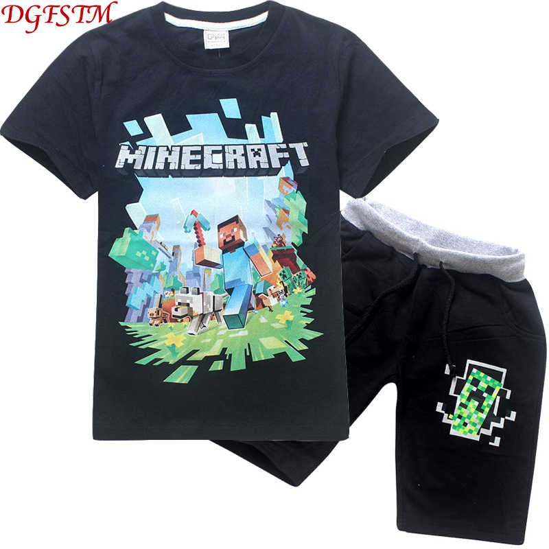 cd959112ea441 Minecraft children's clothes summer child cartoon clothing suits top + pant  2pcs / set kids casual boys clothing sports suits