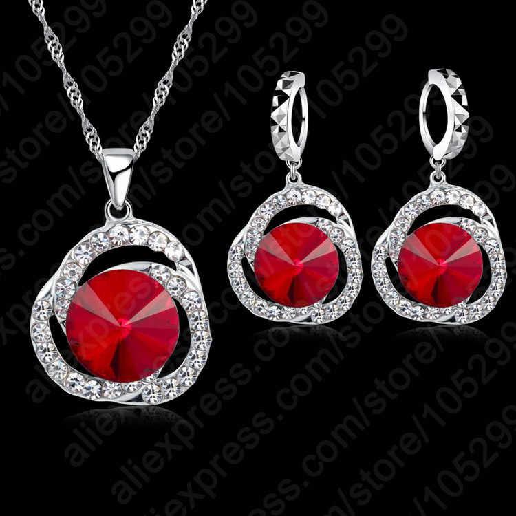 קסם נשים אדום קריסטל תליוני שרשרת עגילי סט מתנת כלה חתונה 925 סטרלינג תכשיטי כסף סטי אבזר