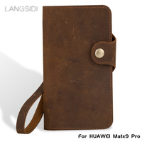 Luxury Genuine Leather flip Case For HUAWEI Mate9 Pro retro crazy horse leather buckle style soft silicone bumper phone cover