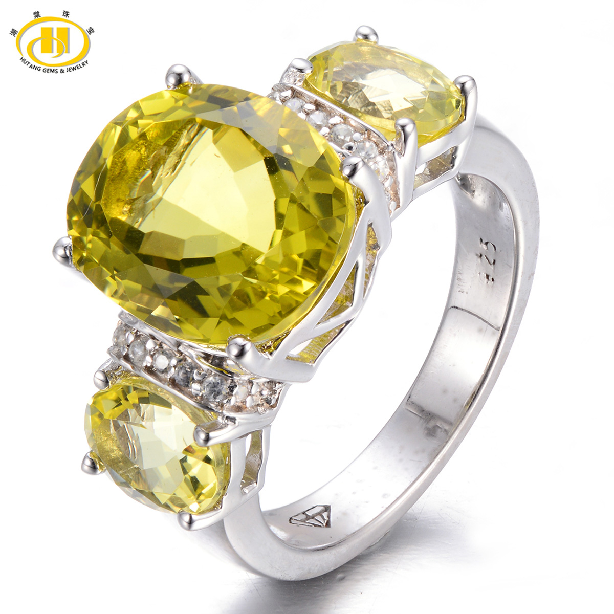 HUTANG 5.198ct Natural Lemon Quartz Solid 925 Sterling Silver Cocktail Ring Gemstone New Arrival Fine Jewelry Women's Rings