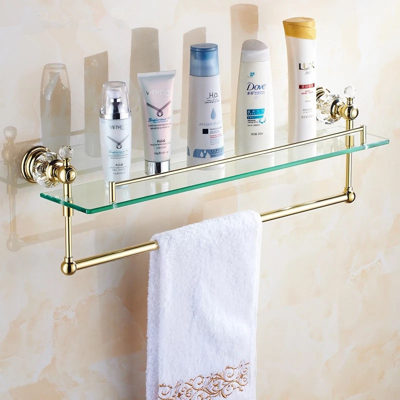 Gold crystal bathroom shower glass shelf bath shower shelf - Bathroom glass corner shelves shower ...