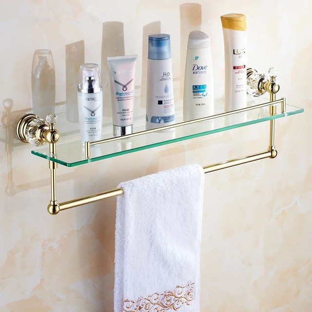 Elegant Gold Crystal Bathroom Shower Glass Shelf Bath Shower Shelf Corner Rack Gold Shower  Holder Bathroom Shelf