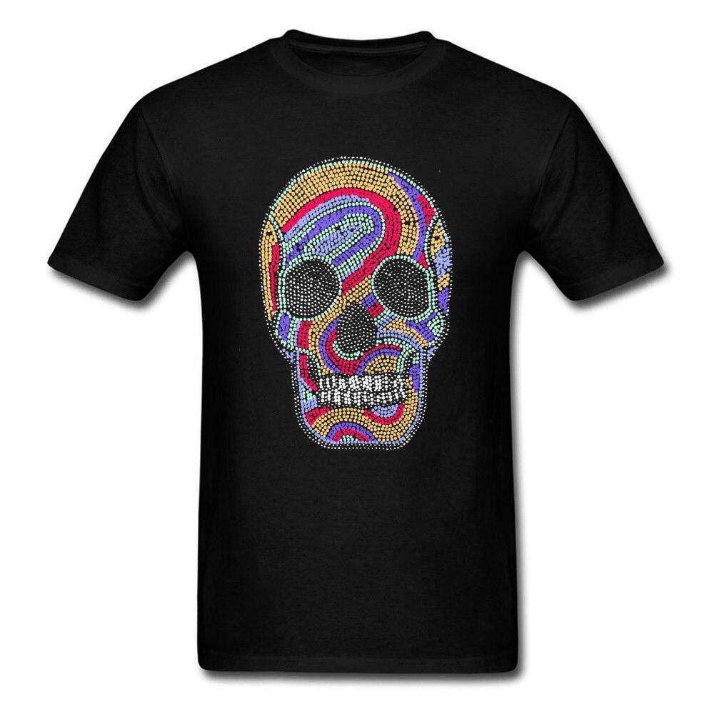 ヒップスターメンズ Tシャツサイケデリック PP スカル描画 Tシャツ 2018 新ファッションストリート綿 100% ルーズ Tシャツのためのメンズ