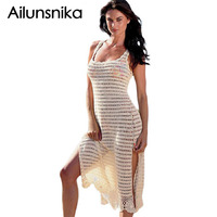 Ailiunsnika Handmade Crochet Split Tank Dress Beachwear Beach Cover Up Sleeveless Hollow Out Solid Beach Dress