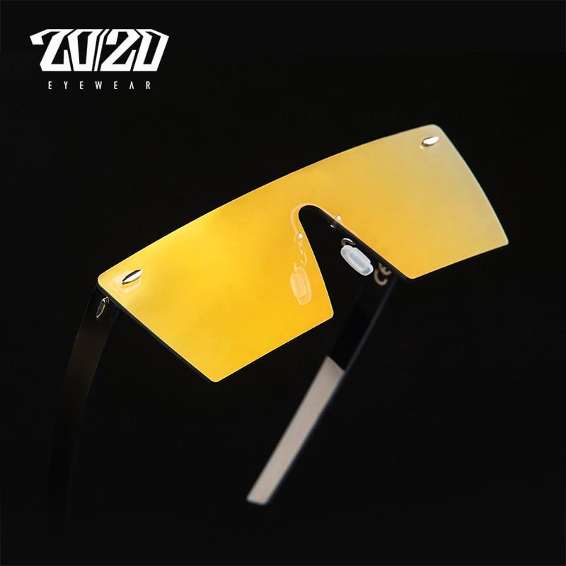20/20 marca gafas de sol de la vendimia hombres sin montura de viaje lente de panel plano gafas de sol masculinas mujeres gafas oculos PC1604