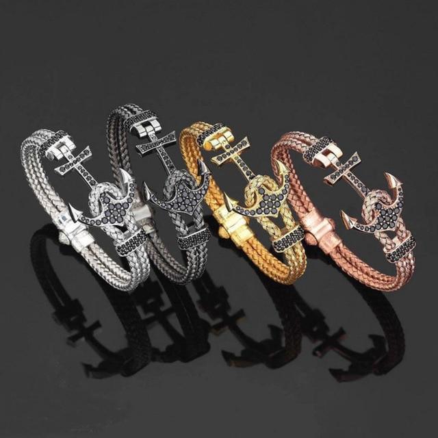 New Arrival Fashion Men S Luxury Jewelry Steel Wire Cable Bracelets Leather Bracelet Zircon Anchor
