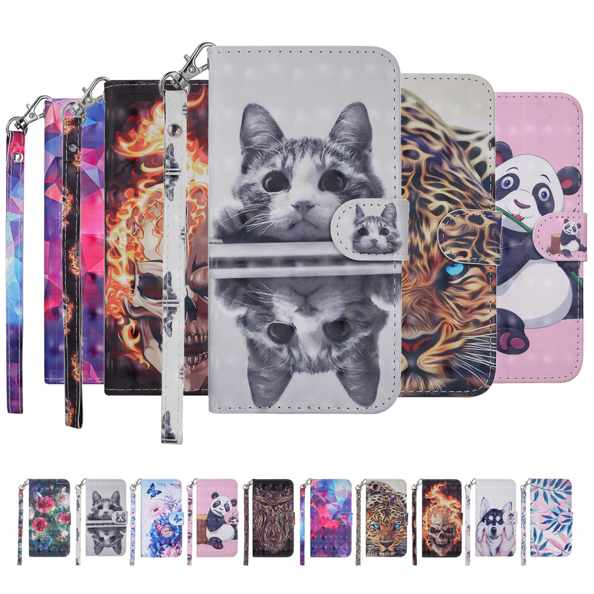 GNTO Painted pattern PU Leather mobile phone cases For Xiaomi Mi 8 Case