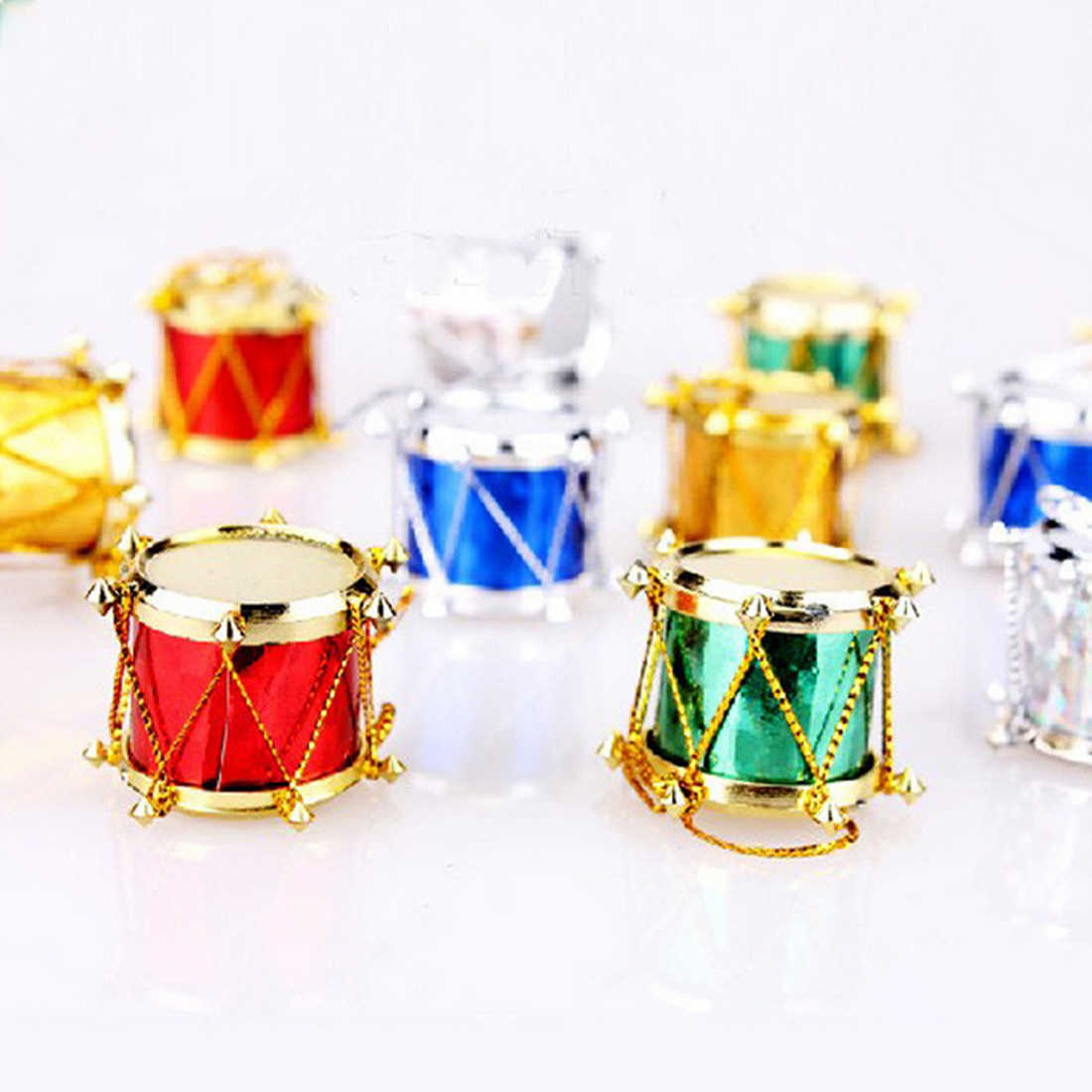 Christmas Drum.12pcs Wedding Party Christmas Home Decorations Colorful Drums Ornament Children S Toy New Year S Products