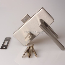 лучшая цена 1PCS Stainless Steel door lock with handles office single door glass to wall lock for glass thickness 8-12mm JF1662
