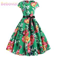 Bebovizi Women 2019 Summer New Style Vintage Plus Size Short Vestidos Green Flower Print Casual Office Elegant Bandage Dress