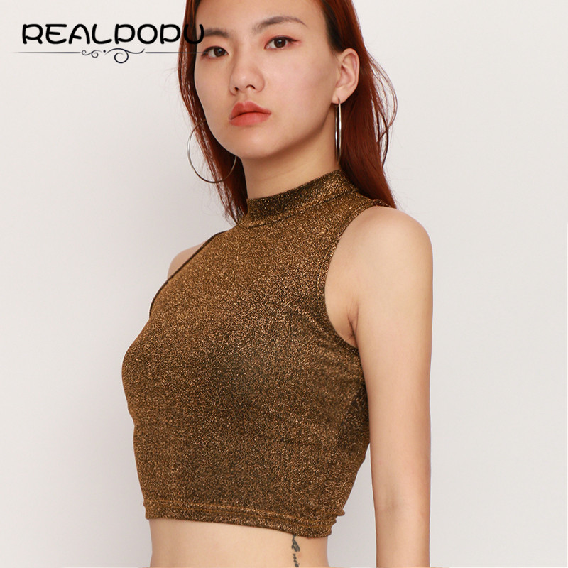 Realpopu Sequin Top Women Sexy Sleeveless O Neck Fitness Cropped feminino Fashion Tank Top Summer Streetwear Basic Bodycon Tops