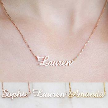 Personalized Name Necklace Rose Gold Custom Nameplate Necklaces Pendants Dainty Women Everyday Office Jewelry Bridesmaid Gift chain