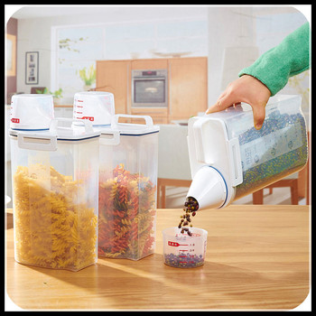 Kitchen Storage Organizer 2Kgs Grain Storage Container Rice Holder Box Cereal Bean Container Sealed Box with Measuring Cup