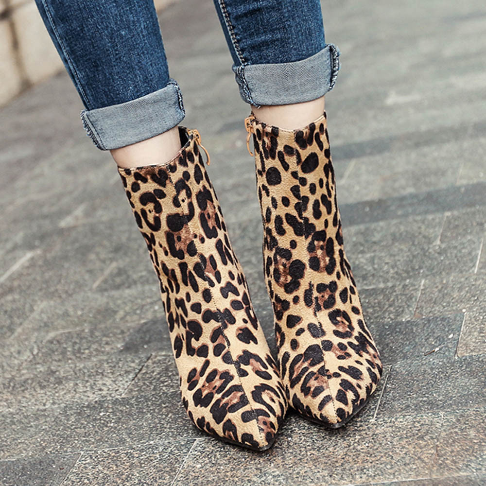 YOUYEDIAN Winter Boots Women 2019 Leopard Print Ankel Boots For Women Pointed Toe Ladies Shoes High Heel Boots Bota Feminina