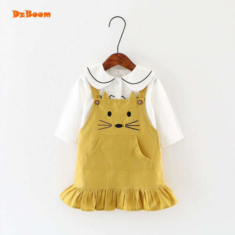 DzBoom Girls Cute Cat Printed Clothing Set For Children Cotton Pink Yellow Straps Dress Turn Down Collar Tops 2 pcs Suit Kids
