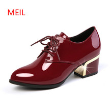 2018 Autumn New Women Pumps High Heels Office Shoes Lace Up Female Shoes Ladies Genuine Patent Leather Shoes Big Size 34-43 bonjomarisa new women s genuine leather square high heels metal decoration shoes woman fashion spring pumps big size 33 43
