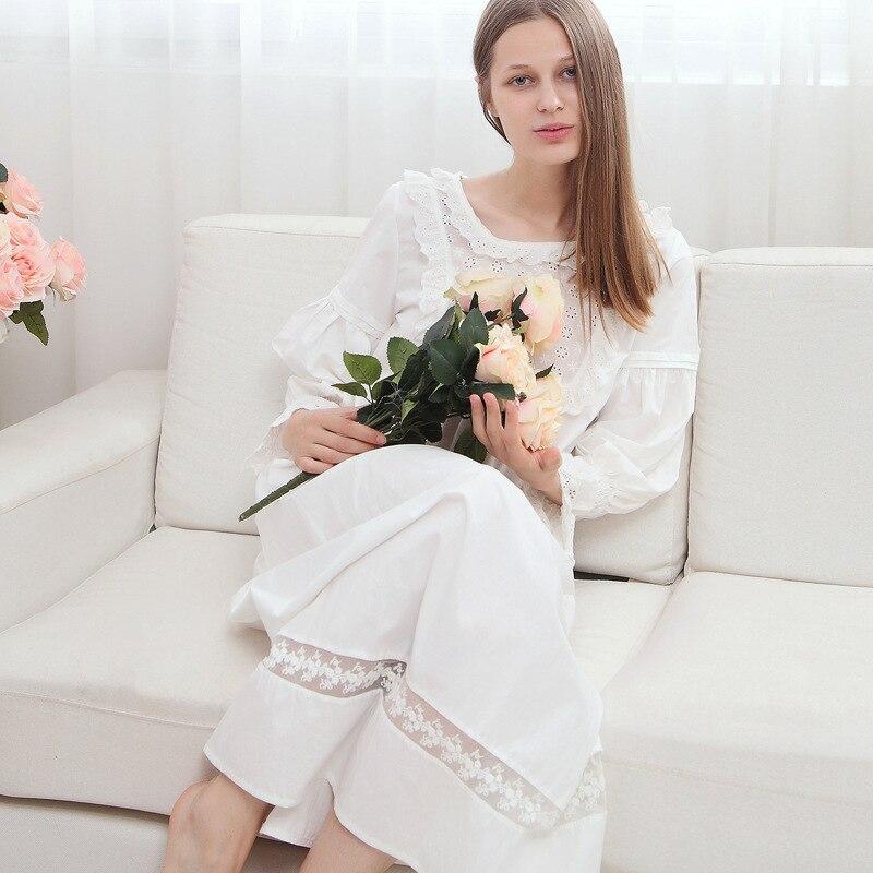 New Pregnant Womens Sleepshirts Retro Palace Lace Cotton Long Sleeve White Princess Slee ...