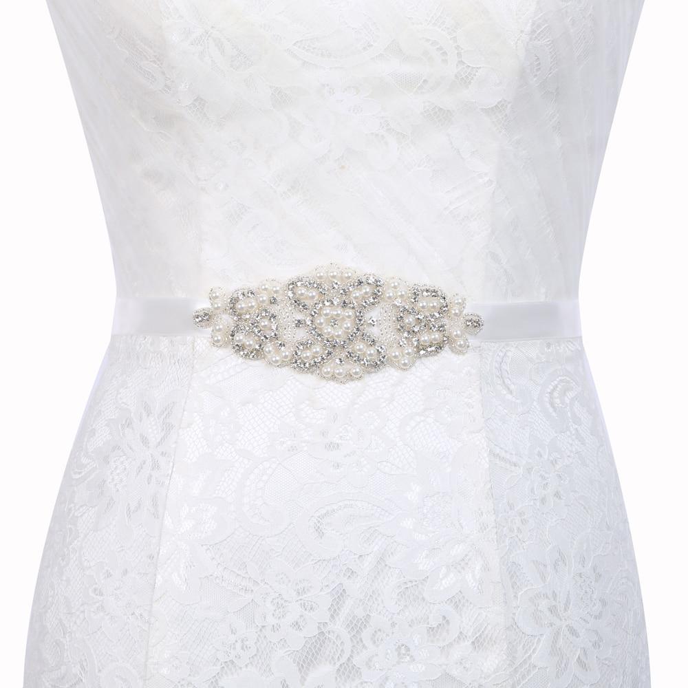 Inofinn T26 Crystal Wedding Accessories Satin Wedding Dress Belt Bridal Ribbon Waistband Sash Belt for Evening Prom Dresses