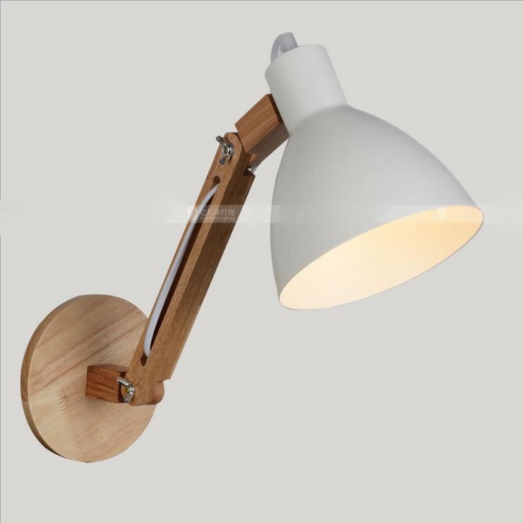 Classical Adjustable Swing Arm Wall Lights Hard Wood Shore BedRoom wall Lamp Decors Loft Lighting Nordic lamp e27