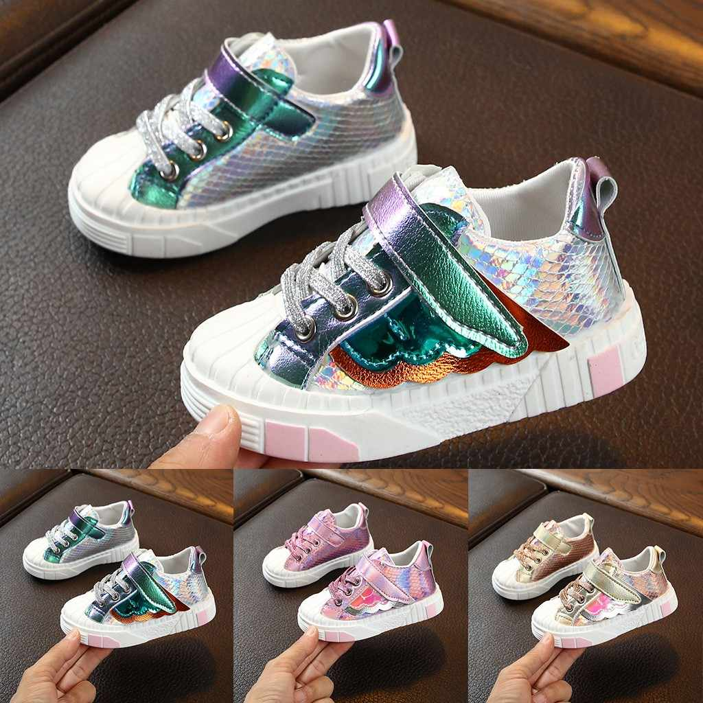 Kids Shoes For Boy Children Toddler Boys Shoes 2019 Girls Boys Bling Wing Scale Flat Sport Sneakers Kids Casual Breathable Shoes