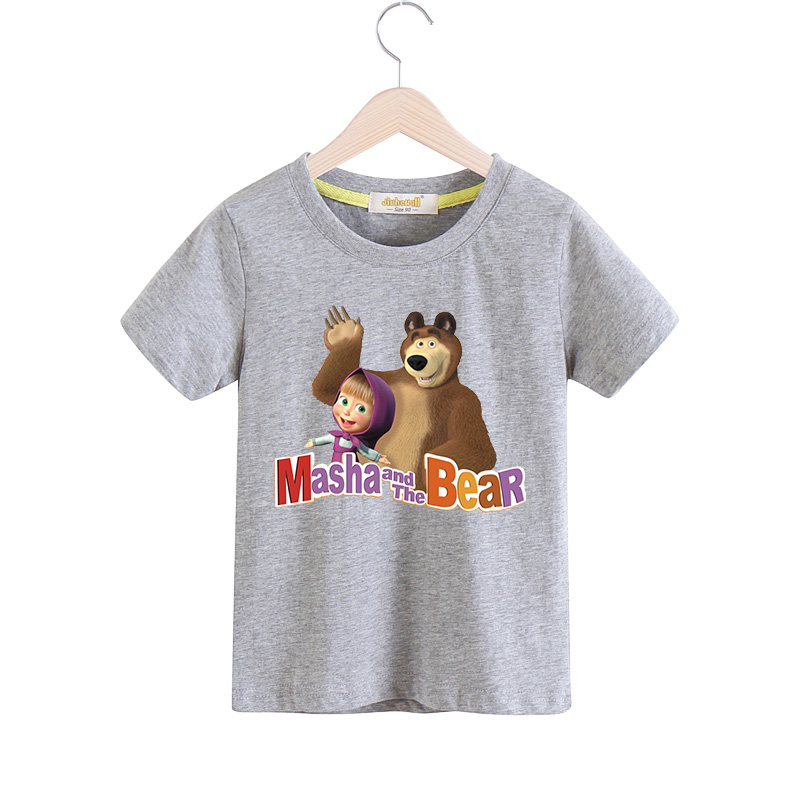 2018 Boy Girls Cartoon Masha And The Bear T-shirt Children Summer Short Sleeves 100%Cotton Tee Tops Clothes Baby Tshirts TX030 black hollow out round neck short sleeves t shirt