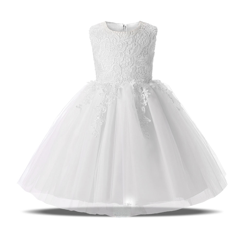 White Wedding Events Baptism Tulle Lace Corchet Christening Gown Princess Dress Girl Clothing Kids Dresses for Girls Clothes