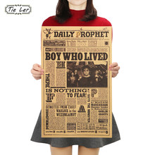 TIE LER Classic Movie Kraft Paper Poster Harry Potter Daily Prophet Wall Sticker Bar Cafe Decorative Painting 42X27cm(China)